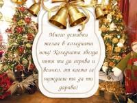 Много усмивки желая в коледната нощ! Коледната звезда пътя ти да огрява и всичко, от което се нуждаеш тя да ти дарява!