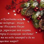 Днес, в Коледната нощ, чакаме подаръци - пълен разкош! Послушни бяхме всички, украсихме ний елхата, а на върха й сложихме звездата! Нека тя ни води занапред и да ни носи щастие навред!