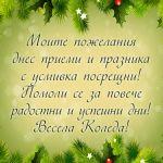 Моите пожелания днес приеми и празника с усмивка посрещни! Помоли се за повече радостни и щастливи дни! Весела Коледа!