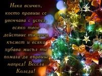 Нека всичко, което правиш се увенчава с успех, всяко твое действие ти носи късмет и всяка хубава мисъл ти помага да вървиш напред! Весела Коледа!