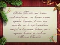 Нека Коледа ти донесе спокойствието, от което имаш нужда, вярата, която ти трябва, за да продължаваш напред и късмета, който ти е нужен, когато се спъваш. Весела Коледа!