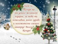 Знам че Коледа ще ти донесе желаният подарък, за това ти пожелавам много здраве и положителни емоции занапред! Весела Коледа!