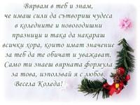 Вярвам в теб и знам, че имаш сили да сътвориш чудеса в коледните и новогодишни празници и така да накараш всички хора, които имат значение за теб да те обичат и уважават. Само ти знаеш вярната формула за това, използвай я с любов. Весела Коледа!