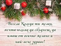 Весела Коледа ти желая, мечта голяма да сбъднеш, да имаш от всичко желано и най-вече здраве!