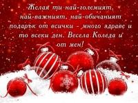 Желая ти най-големият, най-важният, най-обичаният подарък от всички - много здраве и то всеки ден. Весела Коледа и от мен!